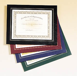 Leatherette Certificate Frame. Click for larger image.